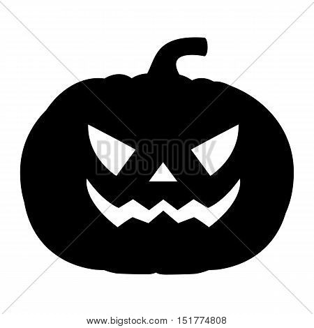 Silhouette of a terrible evil pumpkin on a white background, vector illustration