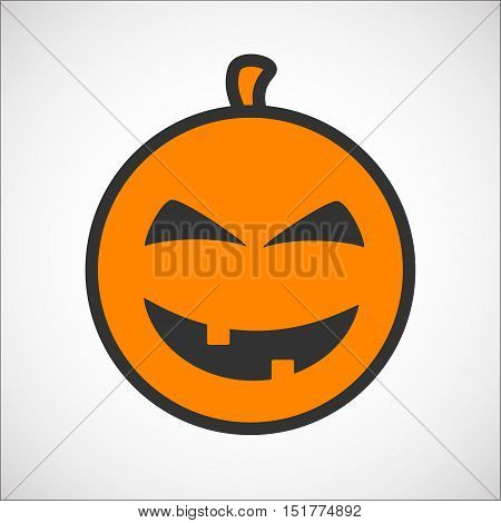 Halloween pumpkin color smiley emoji icon, pumpkin sticker for the Happy Halloween holiday. Isolated vector illustrationon on white background.
