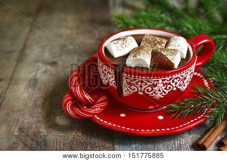 Homemade Spicy Christmas Hot Chocolate In A Red Cup.