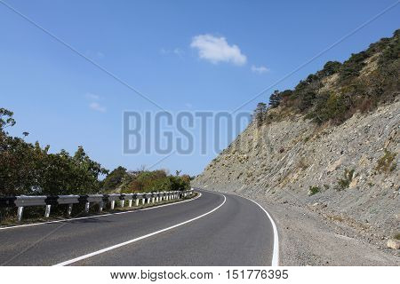 Landslide on the mountain road. Russia, Big Utrish.