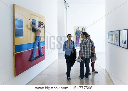 Buenos Aires Argentina - October 5 2013: People in an art exhibition in the Malba (Museo de Arte Latinoamericano de Buenos Aires) Museum in the city of Buenos Aires in Argentina