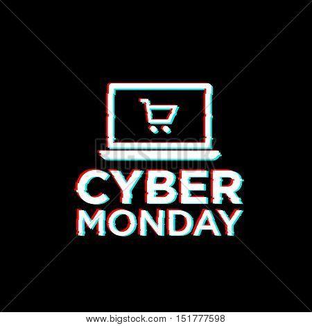 Glitch style. Cyber monday theme. Logo, emblem, label