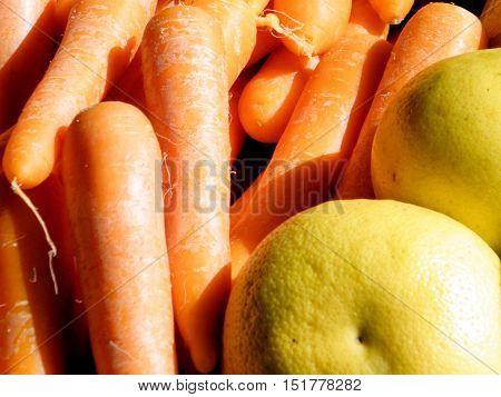 Carrots and grapefruit on bazaar in Tel Aviv Israel Febuary 23 2011