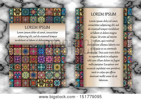 Vintage card with tribal tile patchwork abstract pattern and ornaments. Vector Flyer ethnic design Layout template. Front page and back page. Indian chinese moroccan aztec ottoman motifs.