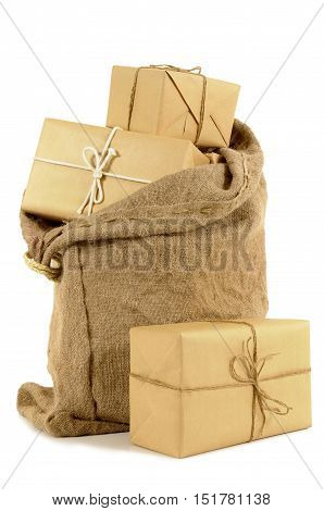 Mail Bag Filled With Brown Paper Parcels