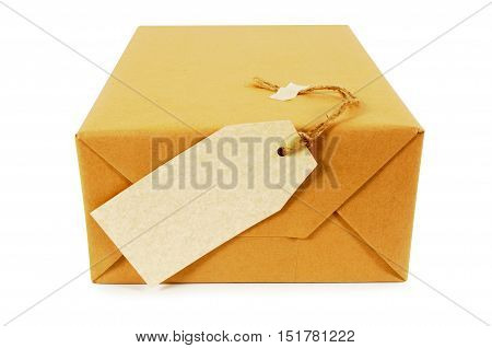 Mail Package With Label Or Gift Tag