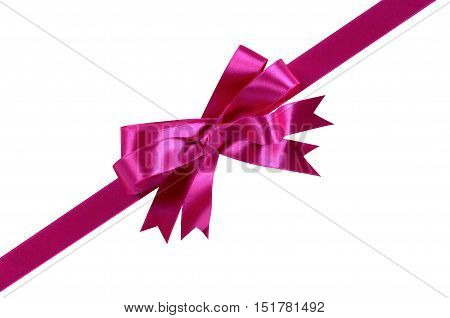 Pink diagonal gift bow isolated on white background