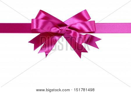 Pink gift bow straight horizontal isolated on white background