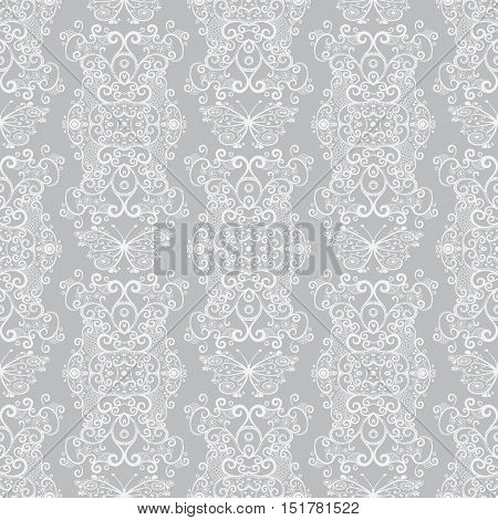 Seamless pastel gray-white vintage pattern with lacy butterflies vector