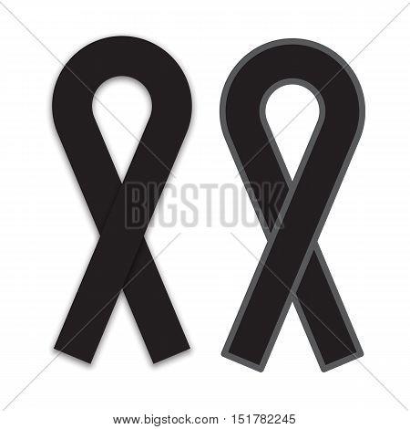 black ribbon mourning and melanoma symbol isolated on white background vector illustration