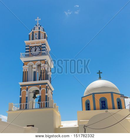 Clock Tower in the village of Thira Santorini in the Greek Islands