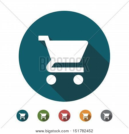Shopping Cart flat icon with several color