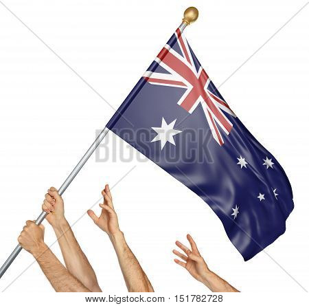 Team of peoples hands raising the Australia national flag, 3D rendering isolated on white background