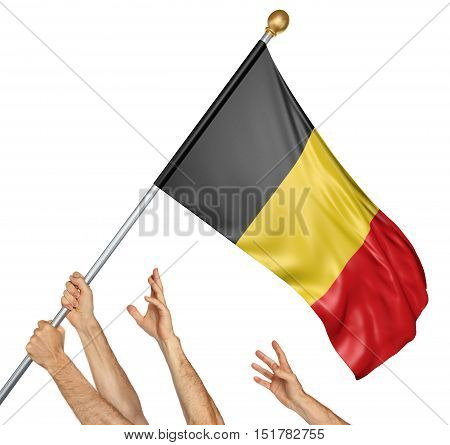 Team of peoples hands raising the Belgium national flag, 3D rendering isolated on white background