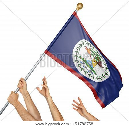 Team of peoples hands raising the Belize national flag, 3D rendering isolated on white background