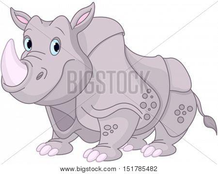 Illustration of funny rhino