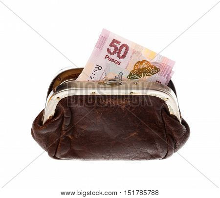 One fifty Mexican pesos banknote in a brown purse isolated on white background.