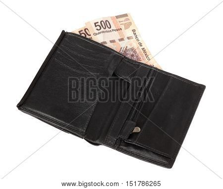 A black wallet with 1000 Mexican Pesos isolated on white background.