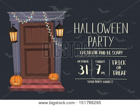 Halloween night party invitation with haunted house doorway and pumpkin head jack lanterns, isolated cartoon vector illustration on gray background. Halloween design template with space for text.