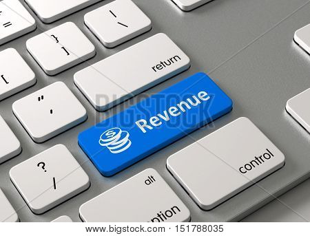 A keyboard with a blue button Revenue