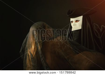 a date with a mystery guest , stylized portrait