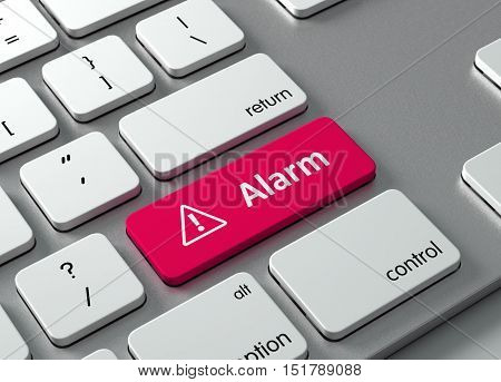 A keyboard with a red button Alarm