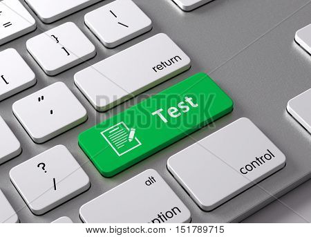A keyboard with a green button Test