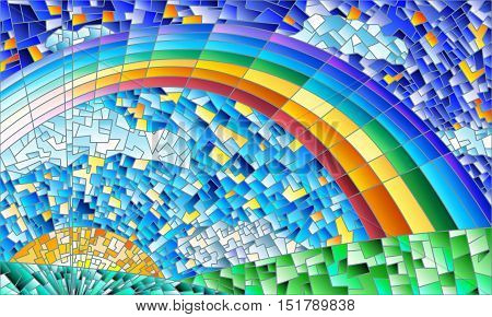 Illustration in the style of a stained glass window with an abstract landscape field sun sky and rainbow
