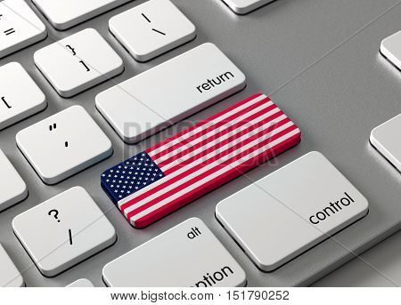 A keyboard with a button USA ,3d render