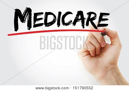 Hand writing Medicare with marker concept background