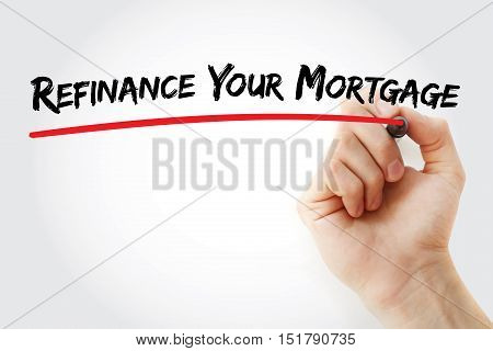 Hand Writing Refinance Your Mortgage