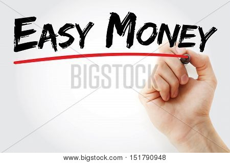 Hand Writing Easy Money With Marker