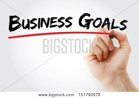 Hand Writing Business Goals With Marker