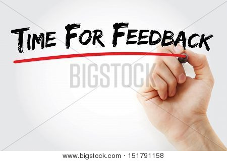Hand Writing Time For Feedback With Marker