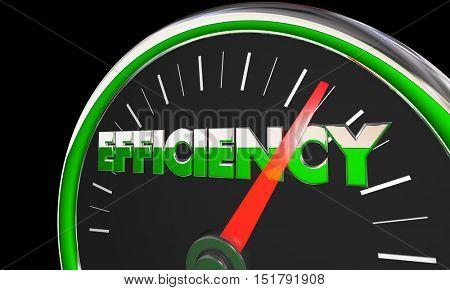 Efficiency Gauge Level Great Effective Results 3d Illustration