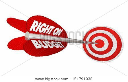 Right on Budget Finances Money Planning Arrow Target 3d Illustration