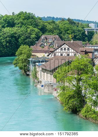 Old houses on the banks of the River Aare in Bern Switzerland.