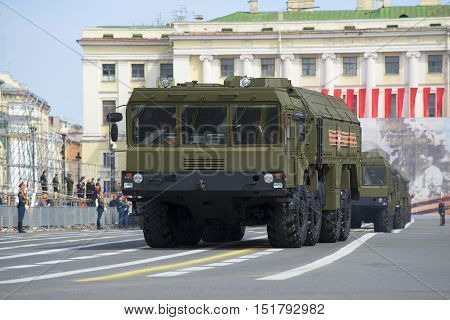 SAINT PETERSBURG, RUSSIA - MAY 05, 2015: Self-propelled launcher MZKT-7930 missile complex