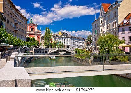 Ljubljana city center on green river Ljubljanica capital of Slovenia