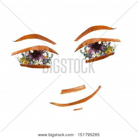 Application, Face Made Of Dried Pressing Bright Flowers