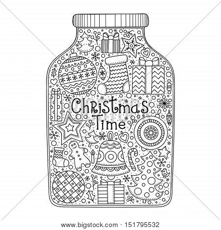 Christmas jar. Vector hand drawn jar with doodle Christmas elements. Winter objects - balls snowflake star christmas tree sock bell gingerbread man gifts hearts berries. Anti stress coloring page for adult and kids.