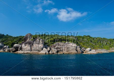 Sea landscape with rocks and sky of similanandaman sea