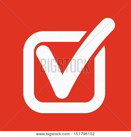 The check icon. Checkmark and checkbox, yes, voting symbol. Flat Vector illustration