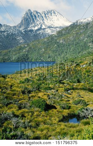 View of a cradle mountain in Tasmania, Australia.