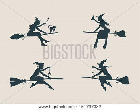 Vector illustration of flying young witches icons set. Witches silhouettes collection. Halloween relative image