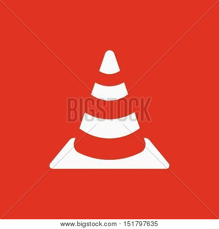 The traffic cone icon. Safety and attention, danger, warning symbol. Flat Vector illustration
