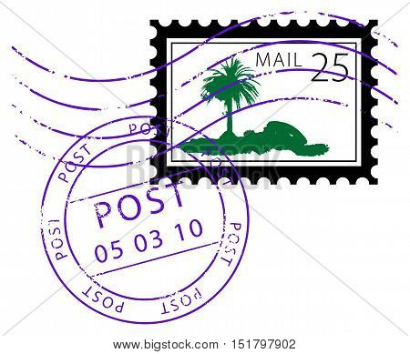 Abstarct Postage stamp with palm, vector illustration