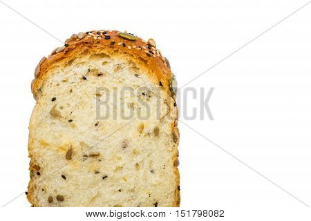Close up of whole wheat bread on white background