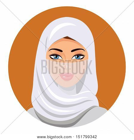 Muslim woman in a hijab. Isolated. Vector. Portrait of the Muslim woman in a hijab.