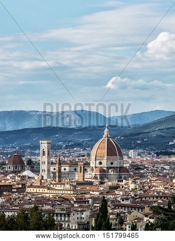 Cathedral Santa Maria del Fiore and Giotto's campanile in Florence Tuscany Italy. Cultural heritage. Historic centre. Cradle of the renaissance. Travel destination. Urban scene.